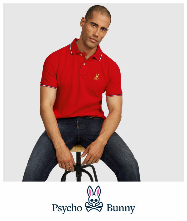 Psycho Bunny red polo for Fall 2019