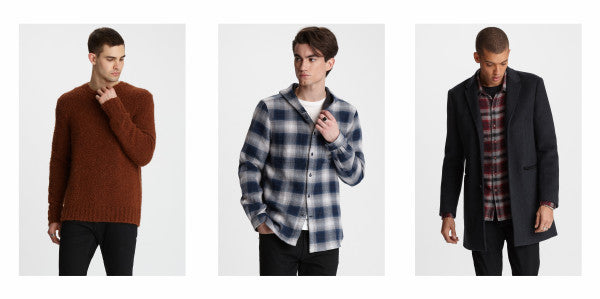 John Varvatos Star USA Fall 2019 - sweater, plaid shirt, top coat