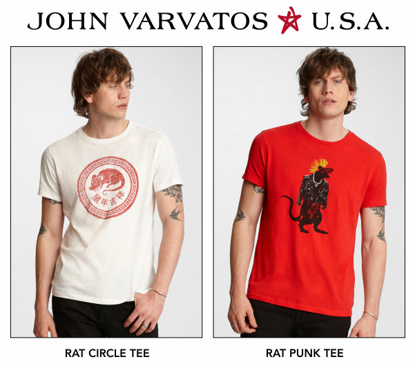 John Varvatos Star USA Circle Rat and Punk Rat tees