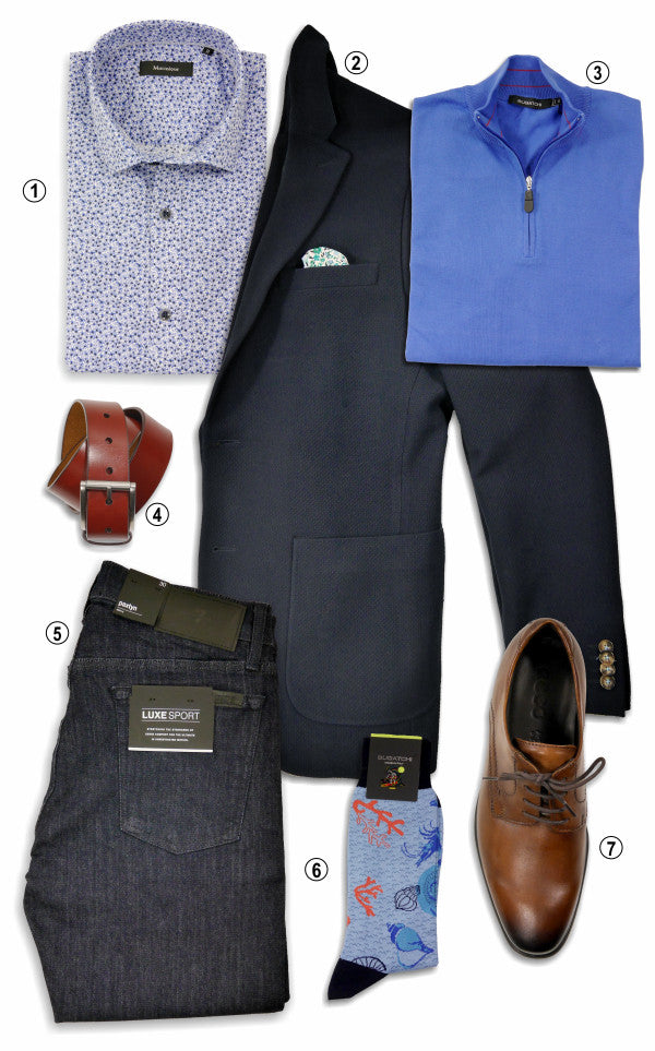 Laydown of an outfit. Blazer, shirt, sweater, jeans, belt, socks and shoes