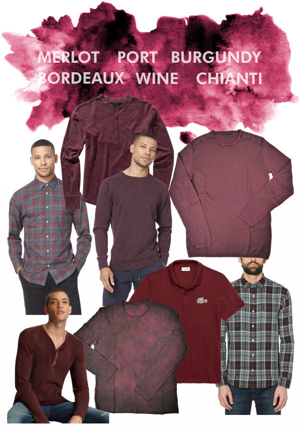 Wine coloured shirts from Good Man Brand, John Varvatos Star USA, Lacoste and Original Penguin