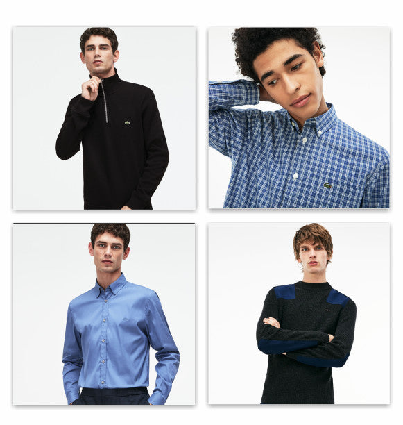 Four Lacoste looks. quarter zip, button down plaid shirt, blue shirt and color block sweater