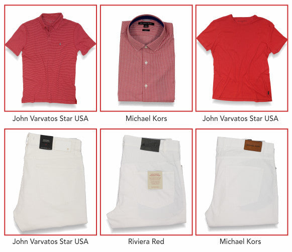 Three great looks from John Varvatos Star USA, Michael Kors and Riviera Red.