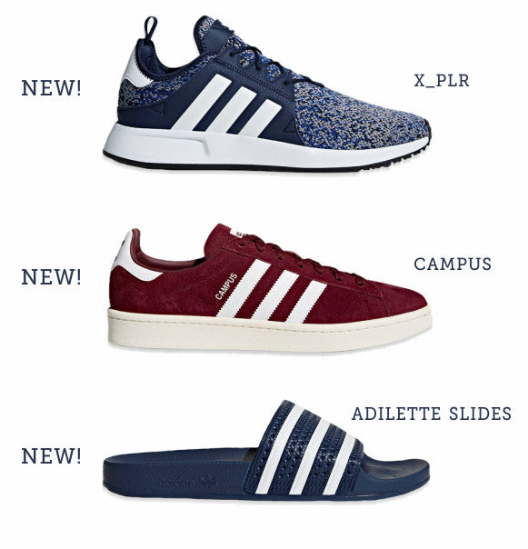Adidas X_PLR, Campus and Adilette slide