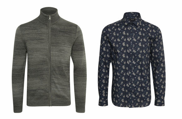 Matinique full zip sweater and print shirt Fall 2018