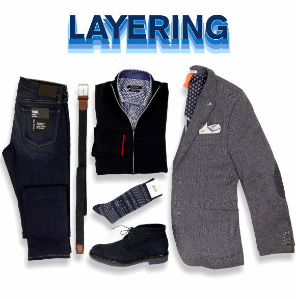 Layering - Image of jeans, shirt, sweater, blazer for Fall