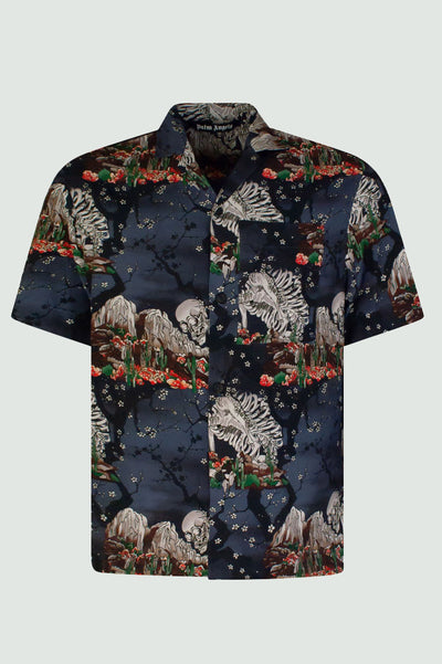 Palm Angels All-Over Skull Print Bowling Shirt