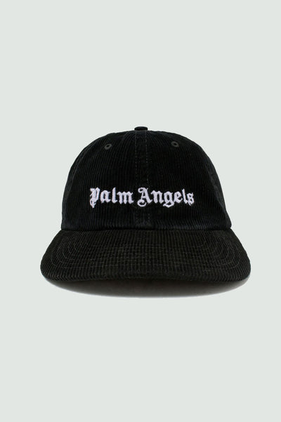Palm Angels Black Corduroy Logo Baseball Cap