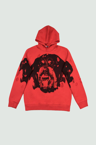 GIVENCHY PARIS ROTTWEILER DISTRESSED HOODIE