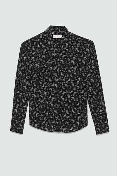 Saint Laurent Silk Long Sleeves Shirts MOTORCYCLE PRINTED SHIRT IN SILK
