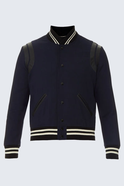 "Saint-Laurent ""Teddy"" Leather-trim wool varsity jacket {PRE-OWNED}"