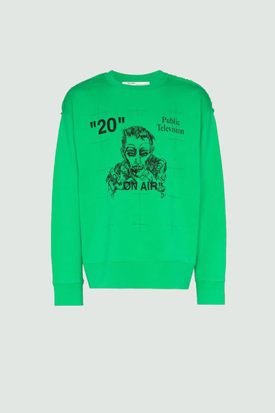 OFF-WHITE  Public Television Sweatshirt Green/Black