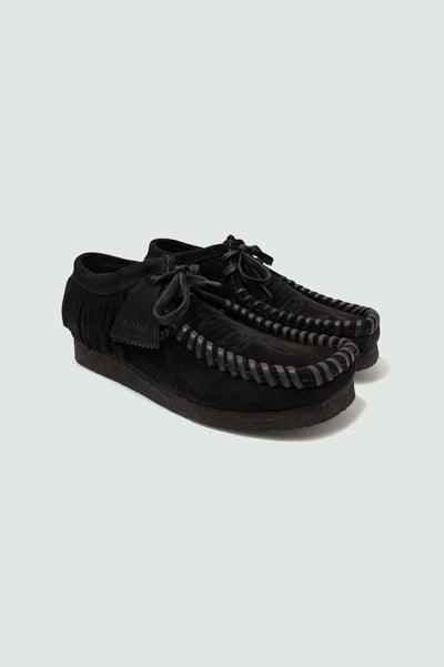 Palm Angels Clarks Black Suede Fringed Wallabee Shoes