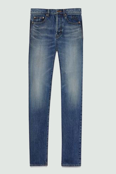Saint Laurent Embroidered Low Waisted Slim Jean In Vintage