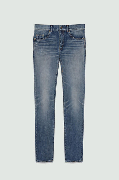 Saint Laurent Low-Waisted Skinny Jeans In Dirty 90'S Vintage Blue