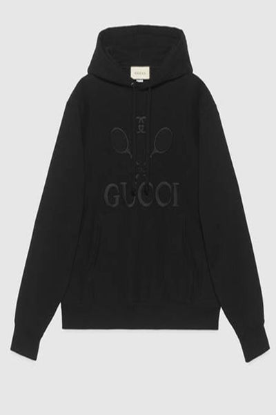 Gucci Tennis logo-embroidered cotton hooded sweatshirt