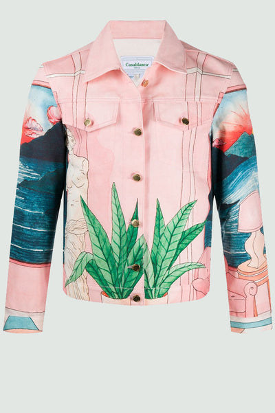 Casablanca landscape print denim jacket