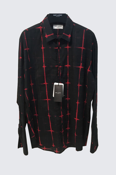 Saint Laurent Signature Black And Red Tie Dye Plaid Yves Collar Shirt