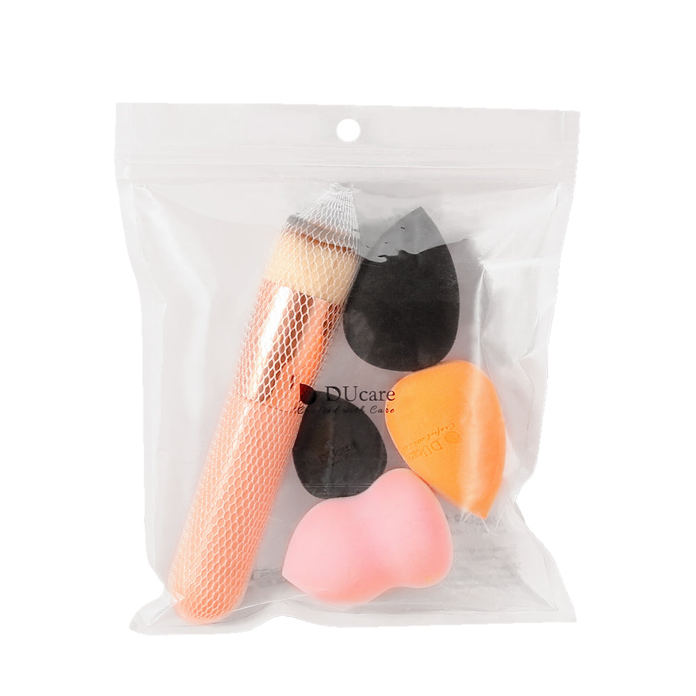 4+1Pcs Kabuki Foundation Brush & Makeup Sponges