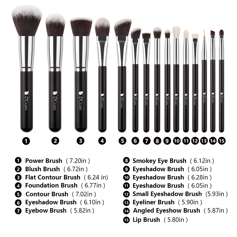 CLASSIC BLACK  - 15 in1 DUcare Makeup Brushes Set