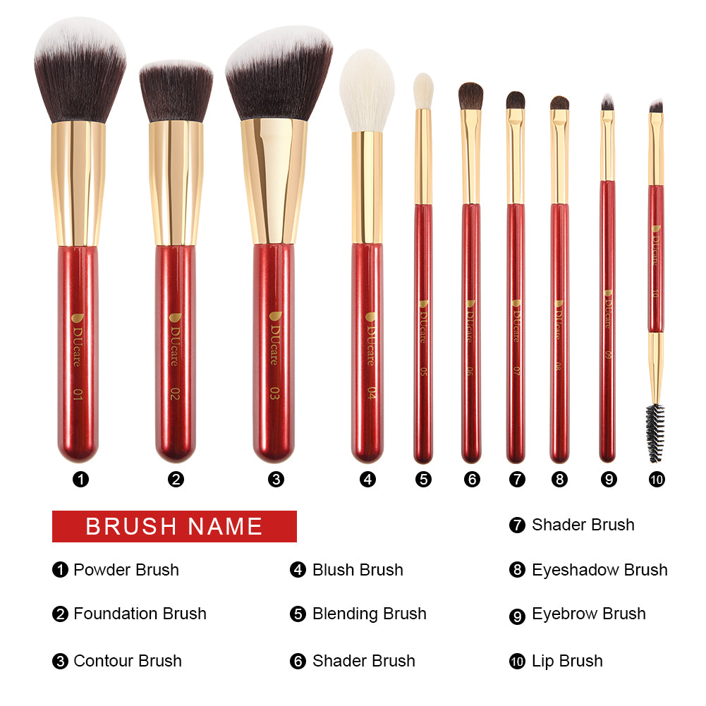 Classic Red - 10in1 Pro Makeup Brushes Set