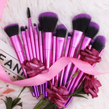 CHARM FUCHSIA - 15 in 1 Makeup Brushes Set