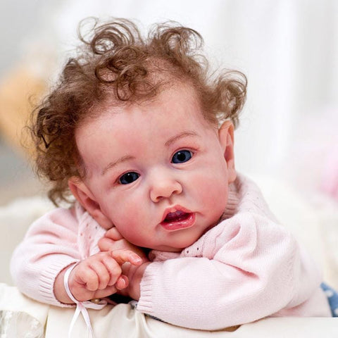 22'' Black Eyes Kinley Reborn Baby Doll Girl with The Growth of Kids