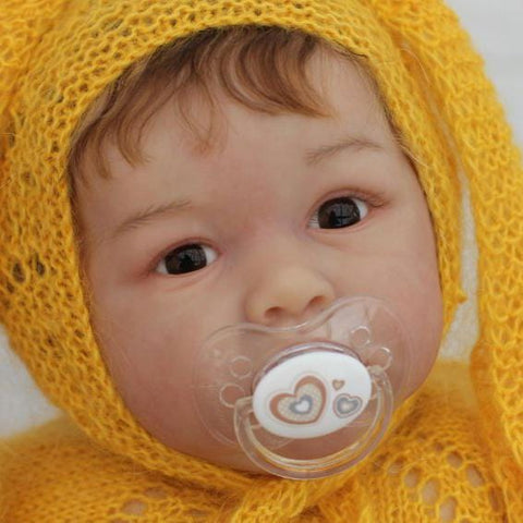 22'' Cute Estella Reborn Baby Doll Girl - Wearing a Yellow Wool Cap