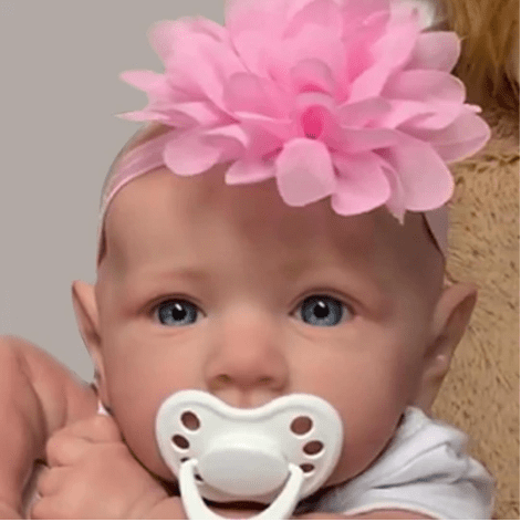 22'' Little Adele With No Hair And Blue Eyes Reborn Baby Doll Girl