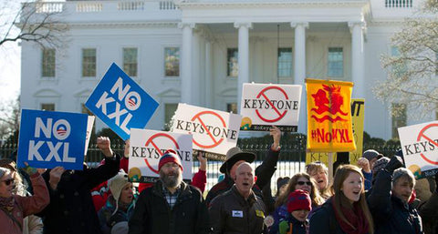 Protestors gather outside the White House in Washington D.C. against the Keystone XL pipeline project.
