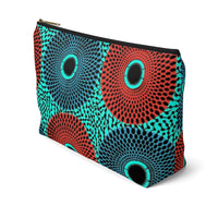 African Ankara Retro Color Burst Pattern Print Accessory Pouch Clutch w T-bottom
