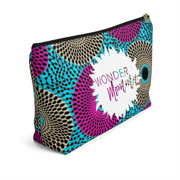 Wonder Momma African Ankara Retro Color Burst Pattern Print Accessory Pouch Clutch w T-bottom