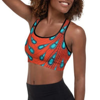 Tribal Marks - Ankara Peacock Print Graphic Padded Sports Bra