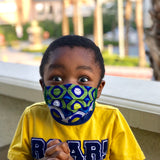 Tribal Marks African Ankara Kids Face Mask boy wearing mask
