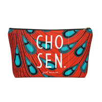 Ankara Peacock Pattern Print Accessory Pouch Clutch w T-bottom