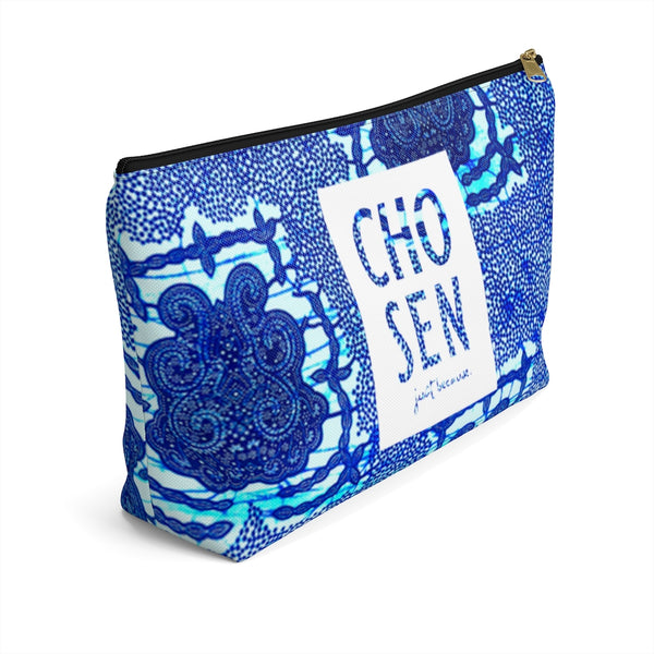 Vintage Seal Indigo Stonewashed Blue Ankara Print Accessory Pouch Clutch w T-bottom
