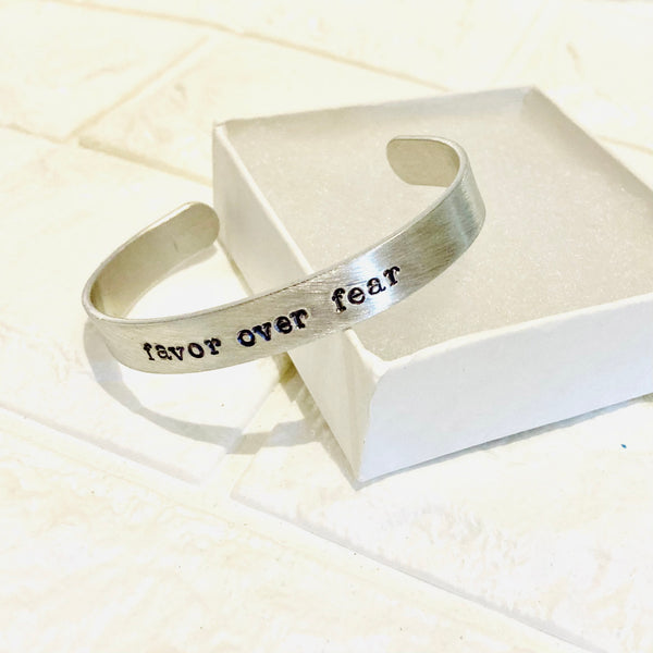 NEW! Favor Over Fear Inspiring Word Metal Stamped Cuff Bracelet Bangle