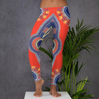 Lifestyle Front View of African Angelina Print Dashiki Leggings - Tribal Marks - identity, truth and culture lifestyle brand