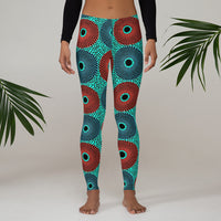 Front Lifestyle View of the Retro Sun Burst Ankara African Print Leggings - Tribal Marks - Identity, Truth and Culture Lifestyle Brand