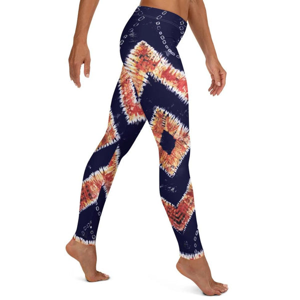 Right Side View of the West African Batik Adire Tie Dye Leggings - Tribal Marks - Identity, Truth and Culture Lifestyle Brand