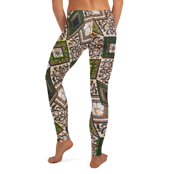 Vintage Ankara Wax Geo Print Graphic Leggings