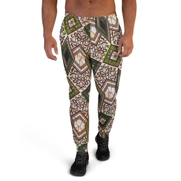 Vintage Geo Wax Print Graphic Men's Ankara Joggers