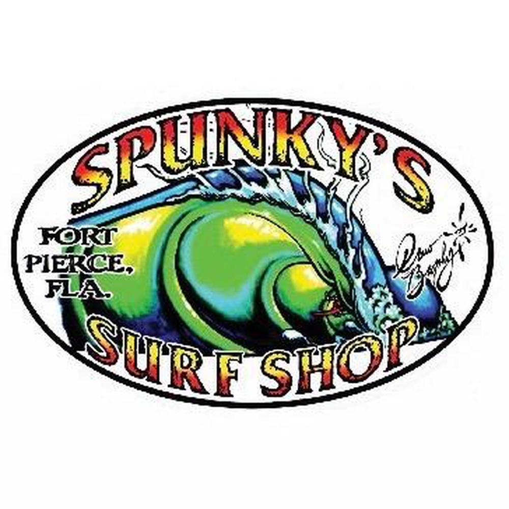 "Spunky's Surf Shop - The Wave by Drew Brophy - 5"" Sticker oval/white"