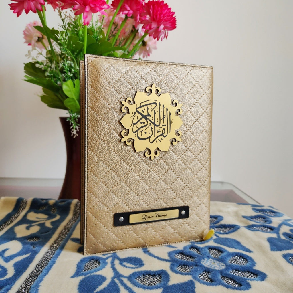 Golden Quilted Quran Cover - Make My Thingz