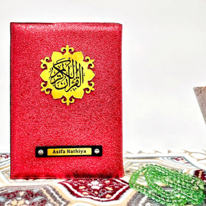 Red Glitter Quran Cover - Make My Thingz