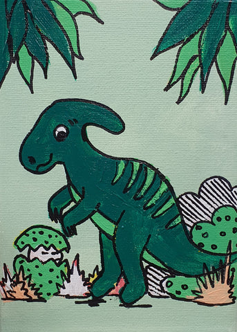 Henry The Parasaurolophus - Acrylic Painting