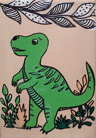 Natalie The T-Rex - Acrylic Painting