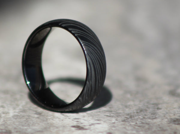 Men's Ring - Black Tungsten Carbide Damascus - Interior Engraving Available