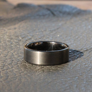 Brushed Black on Polished Black - Tungsten Carbide Ring