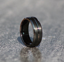 Load image into Gallery viewer, BLACK CUSTOM CUT MAN RING - Tungsten Carbide - FREE ENGRAVING